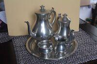 WOODBURY TEA POT SET/5 CREAMER PEWTERS PITCHER SUGAR BOWL PLATTER COFFEE SERVING
