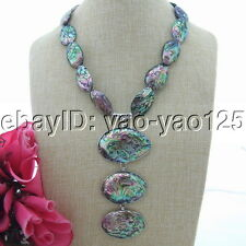 "20"" Paua Abalone Shell Pendant Necklace"
