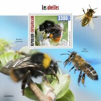 Central African Rep Bees Stamps 2020 MNH Honey Bee Bumblebee Insects 1v S/S
