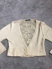 Ladies Jane Norman Bolero Shrug Yellow Netted Crochet Cardigan Size 10 / 12