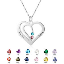 Personalised Gift Love Heart Necklace Custom Couple Names & Birthstone Necklaces
