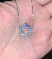 Women's 925 Sterling Silver Jewish Star of David Pendant Hanukkah Gift 17.5-18.5