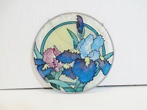 "Round 6.5"" Hanging Suncatcher Glass w/ Metal Frame Floral Design"