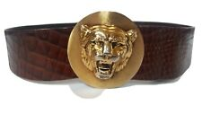 """Christian Dior Leather Lion Head Belt Brown/Gold 31.5"""" Vintage Costume Authentic"""
