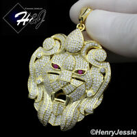 MEN 925 STERLING SILVER ICY DIAMOND BLING GOLD LION HEAD CHARM PENDANT*G221