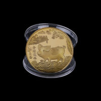 Gold plated pig commemorative coins Chinese zodiac anniversary coin souvenir ME