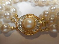 """3 strand Majorca Pearl 8"""" BRACELET w/ Label- 10mm Mabe Pearl Crystal Clasp OLD"""