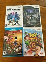 Lot of 4 Disney Wii Games DuckTales Epic Mickey Toy Story Mania Star Wars Force