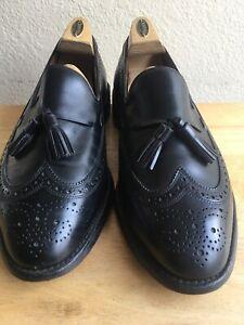 Allen Edmonds Manchester Loafers Black Wingtip Tassel Shoes Men's 10.5 E