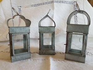 3 x Garden mini lanterns hanging loop tea lights glass sides aluminium vintage
