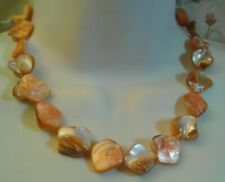 Orange Mother Of Pearl Shell Bead Necklace