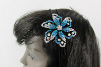 Women Fashion Headband Big Big Flower Silver Blue Pink Multi Gypsy Rhinestones
