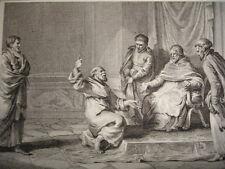 GRAVURE XVIIIe /PIERRE L'HERMITE EXHORTE LE PAPE A DÉLIVRER LA TERRE SAINTE 1093