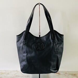 TORY BURCH Solid Black PVC Faux Leather Shoulder Bag