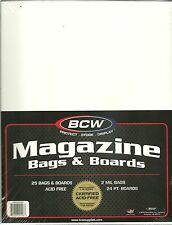 50 BCW Magazine Archival Poly Bags & Acid Free Backing Boards 8.5 x 11 2MIL   #