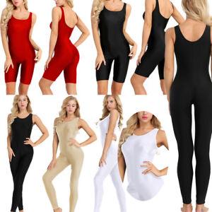 Womens Gym Tank Unitard Yoga Dance Leotard Bodysuit Jumpsuit Sport Running Pants