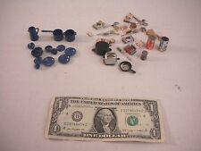 Dollhouse Furniture Miniatures Blue Speckled Pots & Pans, Toaster, Food Boxes