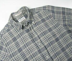 GANT RUGGER Mens Small Gray Plaid Melange Twill Button Flannel Shirt