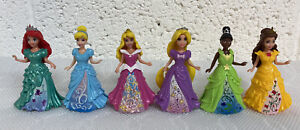 6 X Disney Princess Magiclip Magic Clip Dolls Bundle - Ariel/Aurora/Tiana/Belle