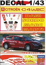 DECAL 1/43 CITROEN C4 WRC DANI SORDO R.JAPAN 2007 2nd (01)