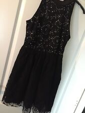 Topshop lace Sequined Sleeveless Black Dress size 12