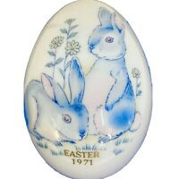 Vintage Noritake 2 Blue Easter Bunnies Porcelain Egg In Original Blue Box Japan