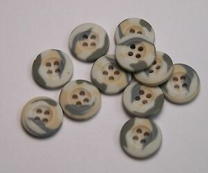 8pc 15mm Cream Grey White Camouflage Cardigan Trouser Shirt Sewing Buttons 0201