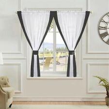 PAIR READY MADE CURTAINS Grey White VOILE TAPE TOP.