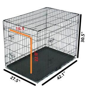 "42"" Pet Kennel Cat Dog Folding Steel Crate Animal Playpen Wire Metal"