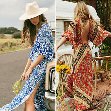 Damen Maxi Kleid Lang Partykleid Sommerkleid Strandkleid Abendkleid V-Ausschnitt