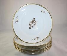 ROYAL COPENHAGEN BROWN ROSE PLATES 8.5 X6 688 VINTAGE GOLD WHITE WEDDING