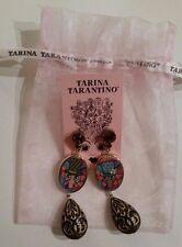 NWT RARE Tarina Tarantino Earrings Wooden Victorian Vintage Swarovski Crystals