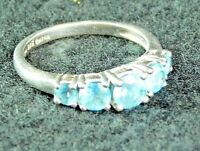 Women's Sterling Silver Ring with 5 Blue Topaz Stones Size 8 KN 925