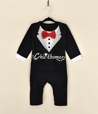New Baby Boy Romper Wedding Christening Formal Suit Outfit Tuxedo Jumpsuit 3-18M