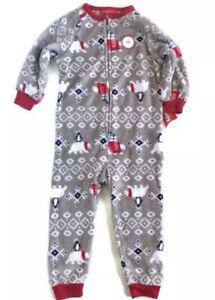 Family PJs Gray Polar Bear Penguin Fuzzy Pajamas NWT Size 2T-3T Unisex
