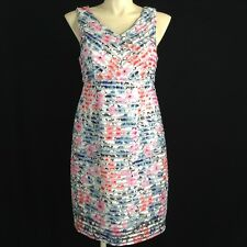 NEW Motherhood Maternity Dress Large White Black Blue Pink Texture Stripe Work