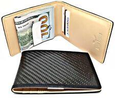 Carbon Fiber & Leather Slim Money Clip Wallet