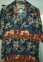 Paradise of the Pacific Vintage Hawaiian Shirt Size Medium  Ribbed Rayon Flowers