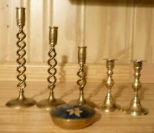 Vintage Brass Candle Holders Candlesticks Set 3 spiral, 2 others and trinket box