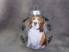 """HAND MADE BEAGLE DOG 3"""" GLASS CHRISTMAS ORNAMENT/BALL"""