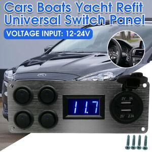 4Gang 12V-24V Campervan RV Camper Switch Panel For LED Lights Voltmeter Dual USB