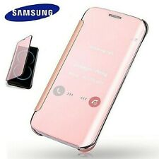NEW Samsung Galaxy Slim Flip Rose Gold Mirror Case Wallet Leather PU Pink Cover