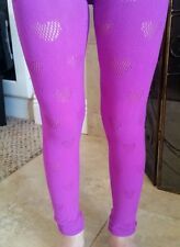 NEW GIRLS Aeropostale LACE FOOTLESS TIGHTS Size S/M Purple Hearts