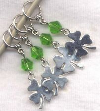 Lucky 4 Leaf Clover Stitch Markers Emerald Isle Celtic Charm Set of 4 /SM303