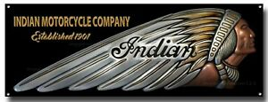 """INDIAN MOTORCYCLE COMPANY METAL SIGN. SIZE 16"""" X 6"""". GARAGE / MAN CAVE SIGN."""