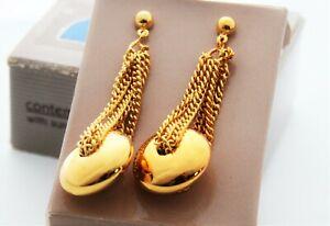 Vintage 1991 Avon ( CONTEMPO ) Gold Tone Pierced Dangle Earrings NIB