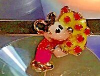 Sehr Schöner Micky Maus Pin Goldfarben mit Emaille 1930 Walt Disney Selten Rar