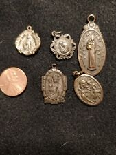 Lot of 5 Vintage Religious Medals St. Anthony, St. Joseph, St. Christopher