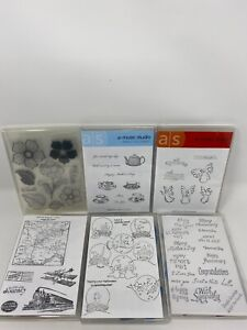 Unmounted rubber stamps lot, Flowers And More.