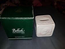 Belleek Baby Girl Bunny Money Box #2354 Fine Parian China new unused piggy bank